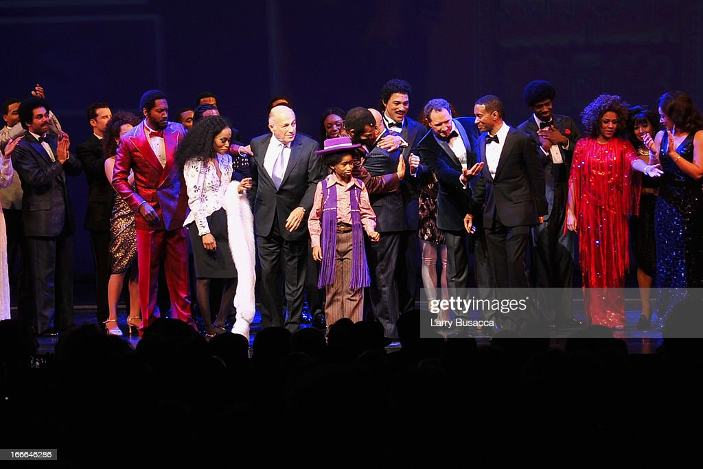 <a gi-track='captionPersonalityLinkClicked' href=/galleries/search?phrase=Doug+Morris&family=editorial&specificpeople=830291 ng-click='$event.stopPropagation()'>Doug Morris</a> poses with actors Valisia LeKae and Jibreel Mawry onstage at 'Motown: The Musical' Opening Night at Lunt-Fontanne Theatre on April 14, 2013 in New York City.