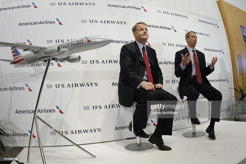 Doug Parker (L), Chairman and CEO of US Airways, and Thomas Horton, Chairman, President and Chief Executive Officer of American Airlines speak during a news conference to announce the merger of the two airlines February 14, 2013 in Dallas Texas. US Airways and American Airlines have agreed to an $11 billion merger, creating the largest airline in the world. The airline will be called American Airlines and be headed by US Airways CEO Doug Parker. (Photo by Donna McWilliam/Getty Images