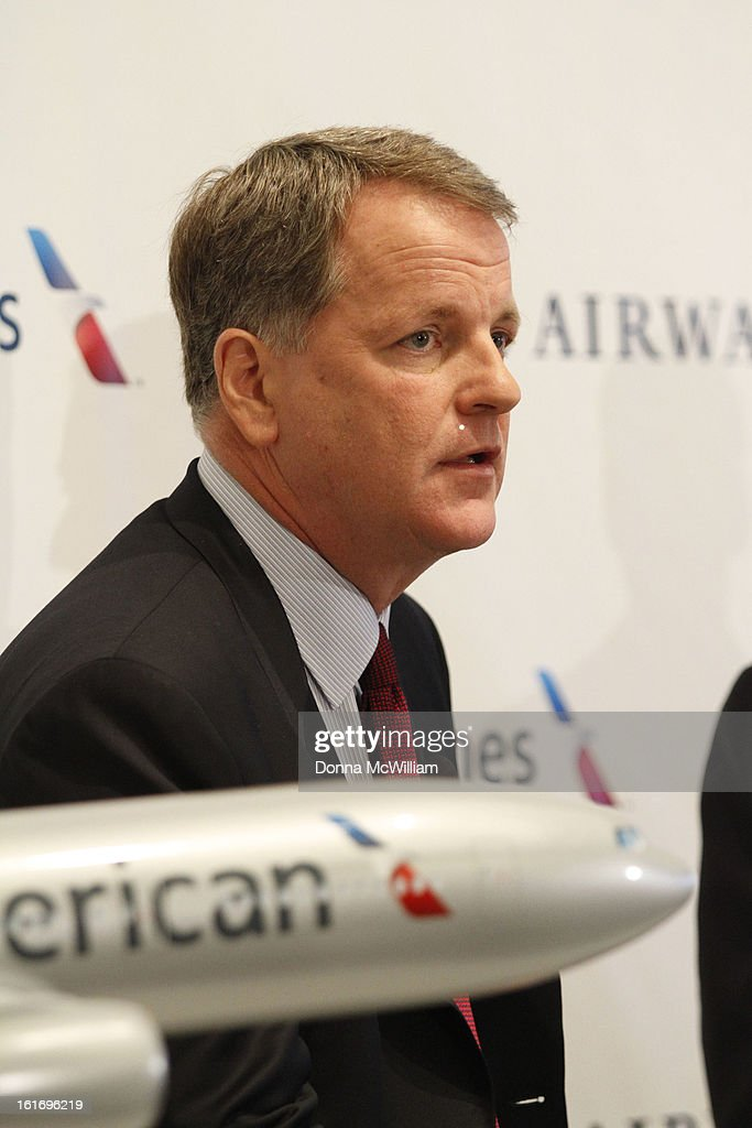 Doug Parker, Chairman and CEO of US Airways speak during a news conference to announce the merger of American Airlines and US Airways, Feb. 14, 2012.