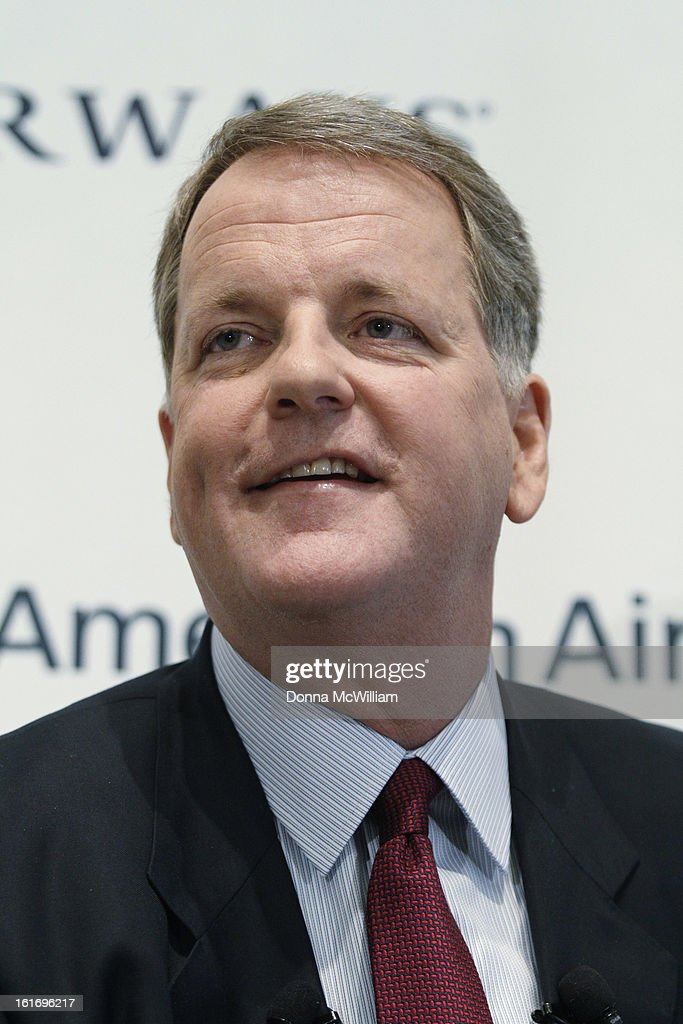 Doug Parker, Chairman and CEO of US Airways speaks during a news conference to announce the merger of American Airlines and US Airways February 14, 2013 in Dallas Texas. US Airways and American Airlines have agreed to an $11 billion merger, creating the largest airline in the world. The airline will be called American Airlines and be headed by US Airways CEO Doug Parker. (Photo by Donna McWilliam/Getty Images
