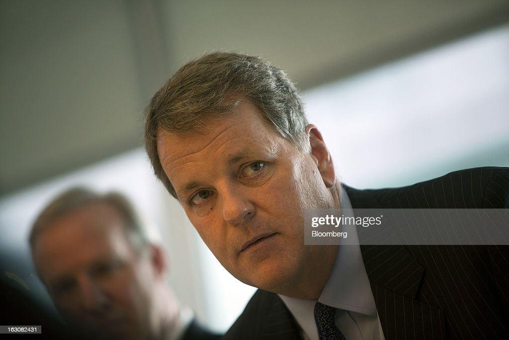 Doug Parker, chief executive officer of US Airways Group Inc., listens during an interview in New York, U.S., on Monday, March 4, 2013. US Airways Group Inc. and AMR Corp.'s American Airlines announced an $11 billion merger last month that will create the world's largest carrier with Parker running the new company. Photographer: Victor J. Blue/Bloomberg via Getty Images