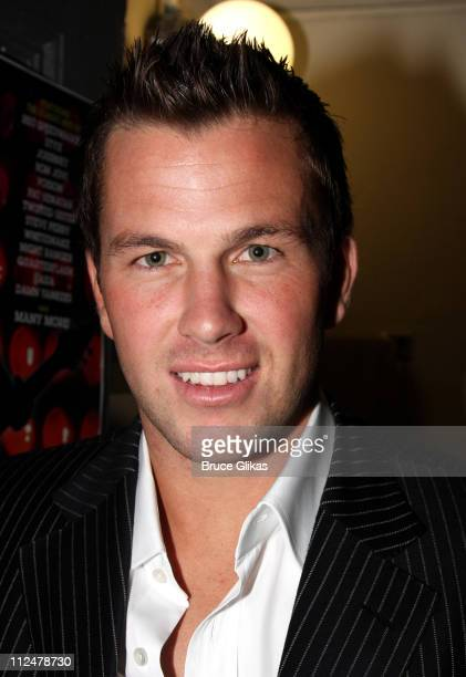 Doug Reinhardt poses backstage at the hit musical 'Rock of Ages' on Broadway at the Brooks Atkinson Theatre on June 1 2009 in New York City