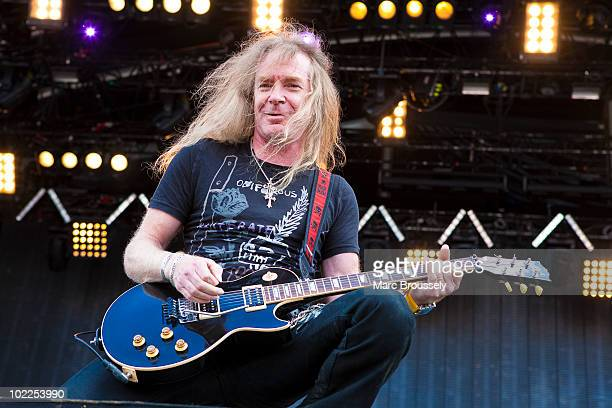 Doug Scarratt of Saxon performs on stage at Hellfest Festival on June 20 2010 in Clisson France