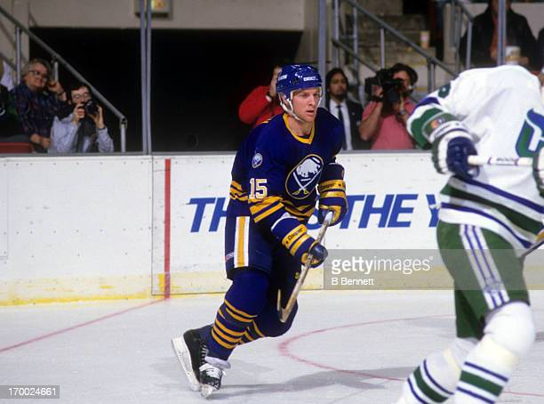 Doug Smith of the Buffalo Sabres skates on the ice during an NHL game against the Hartford Whalers on February 4 1987 at the Hartford Civic Center in...