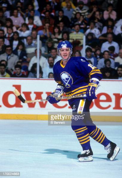 Doug Smith of the Buffalo Sabres skates on the ice during an NHL game against the Philadelphia Flyers circa 1988 at the Spectrum in Philadelphia...