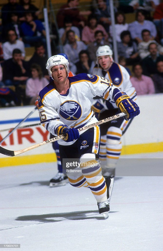 Doug Smith of the Buffalo Sabres skates on the ice during an NHL game against the Edmonton Oilers circa 1987 at the Buffalo Memorial Auditorium in...