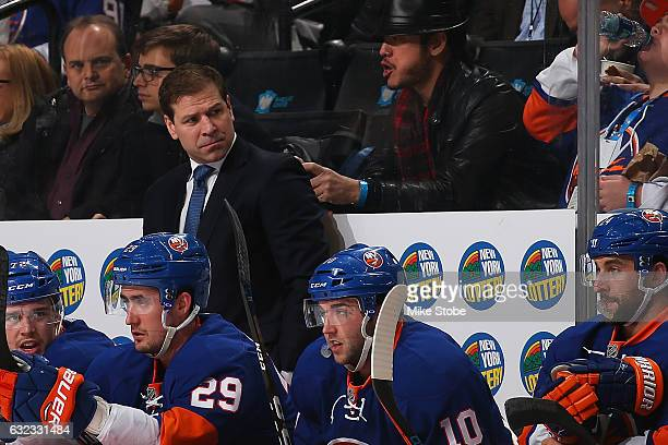 Doug Weight of the New York Islanders looks on from the bench against the Los Angeles Kings at the Barclays Center on January 21 2017 in Brooklyn...