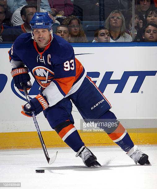 Doug Weight of the New York Islanders skates in a game against the Dallas Stars at the Nassau Coliseum on October 9 2010 in Uniondale New York