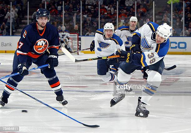 Doug Weight of the St Louis Blues shoots the puck past Trent Hunter of the New York Islanders during their game on March 1 2007 at Nassau Coliseum in...