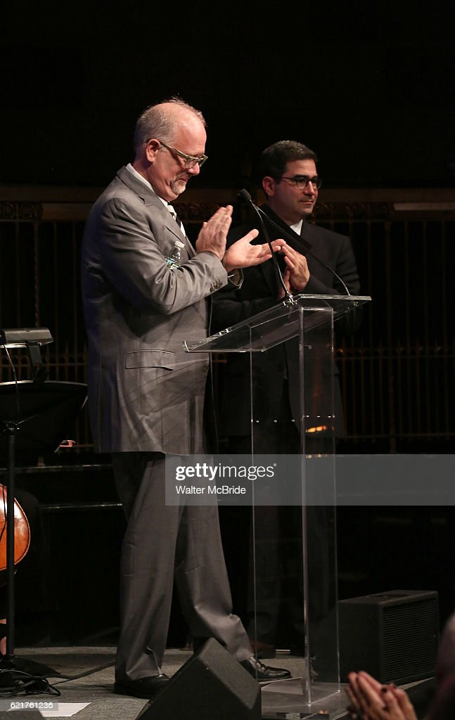 Doug Wright and Jonathan Tolins during the Dramatists Guild Fund Gala 'Great Writers Thank Their Lucky Stars : The Presidential Edition' presentation at Gotham Hall on November 7, 2016 in New York City.
