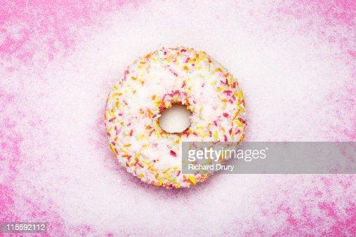 Doughnut covered in sugar