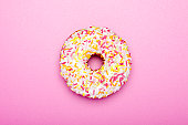 Doughnut on pink background