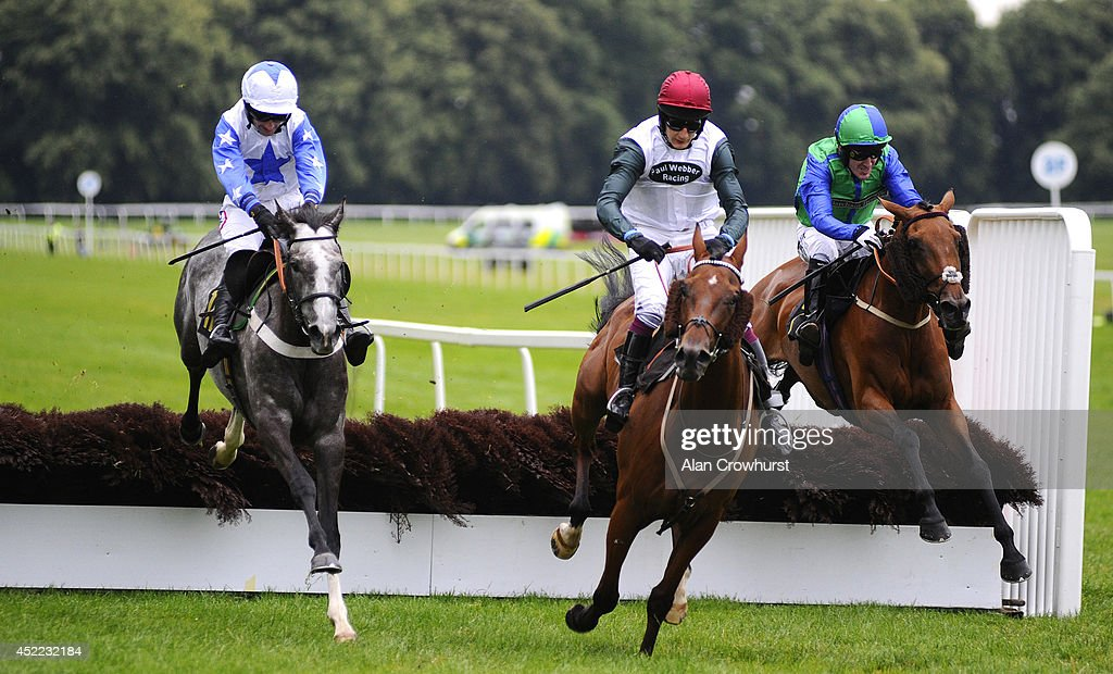 Dougie Costello riding Spieta (L) clear the last to win The Mares' Maiden Hrdle Race with Tony McCoy riding My Nosy Rosy (R) finishing third at Worcester racecourse on July 16, 2014 in Worcester, England.