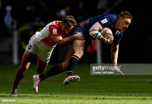Dougie Fife of Scotland and Jean Pascal Barraque of France during the HSBC London Sevens at Twickenham Stadium on May 20 2017 in London United Kingdom
