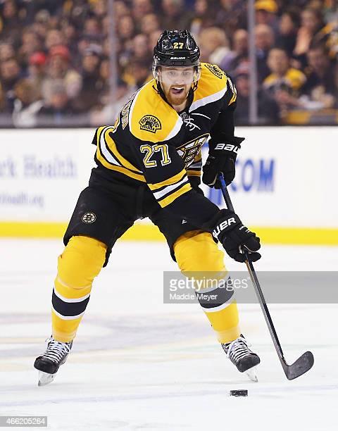 Dougie Hamilton of the Boston Bruins skates against the Dallas Stars at TD Garden on February 10 2015 in Boston Massachusetts