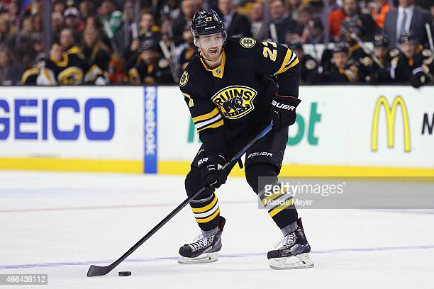 Dougie Hamilton of the Boston Bruins skates against the Detroit Red Wings at TD Garden on March 8 2015 in Boston Massachusetts