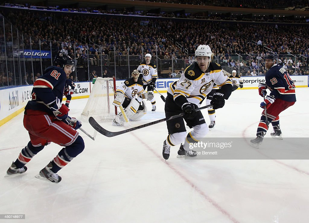 <a gi-track='captionPersonalityLinkClicked' href=/galleries/search?phrase=Dougie+Hamilton&family=editorial&specificpeople=6686524 ng-click='$event.stopPropagation()'>Dougie Hamilton</a> #27 of the Boston Bruins skates against the New York Rangers at Madison Square Garden on November 19, 2013 in New York City. The Bruins defeated the Rangers 2-1.