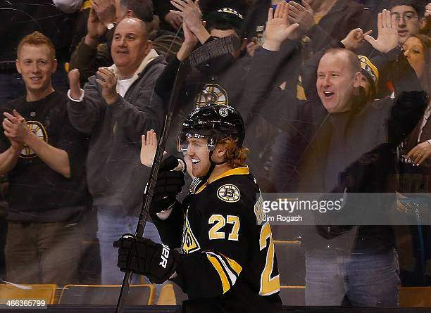 Dougie Hamilton of the Boston Bruins smiles after he scored against the Edmonton Oilers in the 3rd period at TD Garden on February 1 2014 in Boston...
