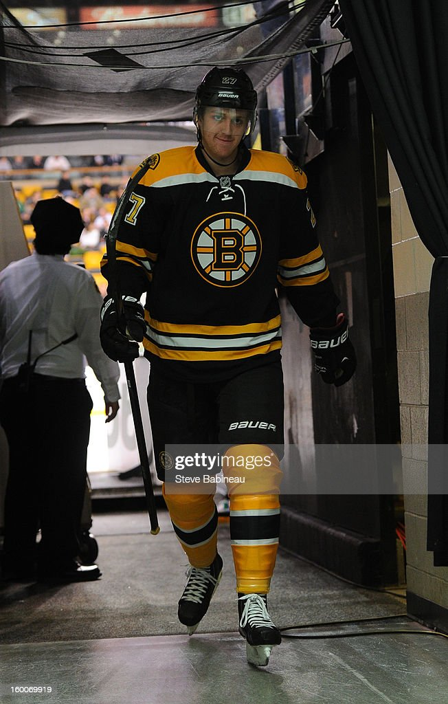 Dougie Hamilton #27 of the Boston Bruins walks down the hallway bak to the locker room after warm ups prior to the game against the New York Islanders at the TD Garden on January 25, 2013 in Boston, Massachusetts.