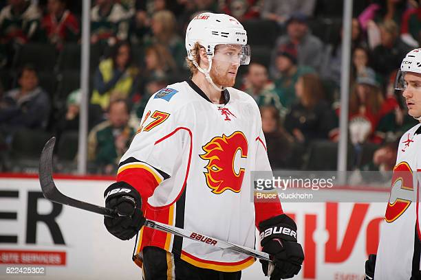 Dougie Hamilton of the Calgary Flames awaits the opening faceoff against the Minnesota Wild prior to the game on April 9 2016 at the Xcel Energy...