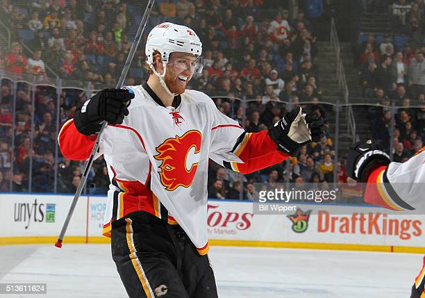Dougie Hamilton of the Calgary Flames celebrates his second period goal against the Buffalo Sabres during an NHL game on March 3 2016 at the First...