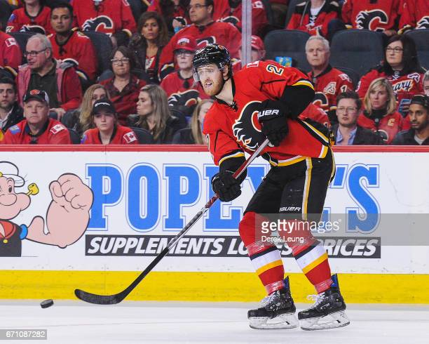 Dougie Hamilton of the Calgary Flames in action against the Anaheim Ducks in Game Four of the Western Conference First Round during the 2017 NHL...