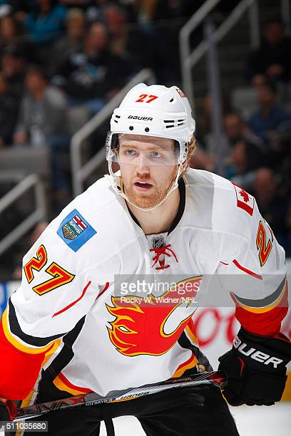 Dougie Hamilton of the Calgary Flames looks on during the game against the San Jose Sharks at SAP Center on February 11 2016 in San Jose California