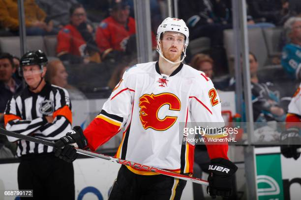 Dougie Hamilton of the Calgary Flames looks on during the game against the San Jose Sharks at SAP Center on April 8 2017 in San Jose California