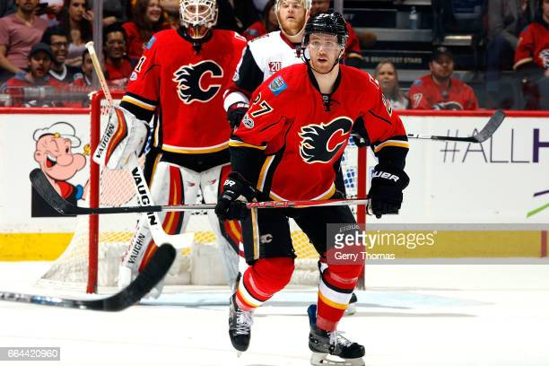 Dougie Hamilton of the Calgary Flames plays against the Arizona Coyotes during an NHL game on February 13 2017 at the Scotiabank Saddledome in...