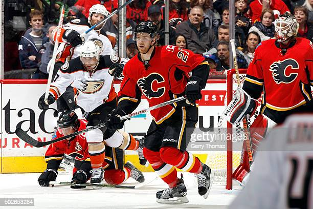 Dougie Hamilton of the Calgary Flames skates against the Anaheim Ducks during an NHL game at Scotiabank Saddledome on December 29 2015 in Calgary...