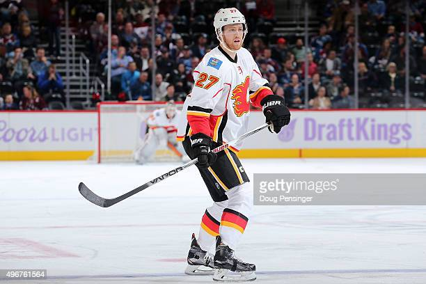 Dougie Hamilton of the Calgary Flames skates against the Colorado Avalanche at Pepsi Center on November 3 2015 in Denver Colorado The Avalanche...