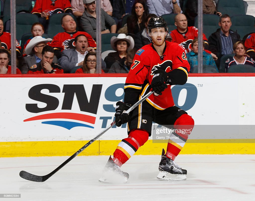 Dougie Hamilton #27 of the Calgary Flames skates against the Columbus Blue Jackets at Scotiabank Saddledome on February 5, 2016 in Calgary, Alberta, Canada.