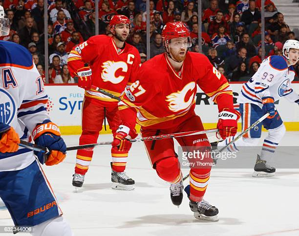 Dougie Hamilton of the Calgary Flames skates against the Edmonton Oilers at Scotiabank Saddledome on January 21 2017 in Calgary Alberta Canada