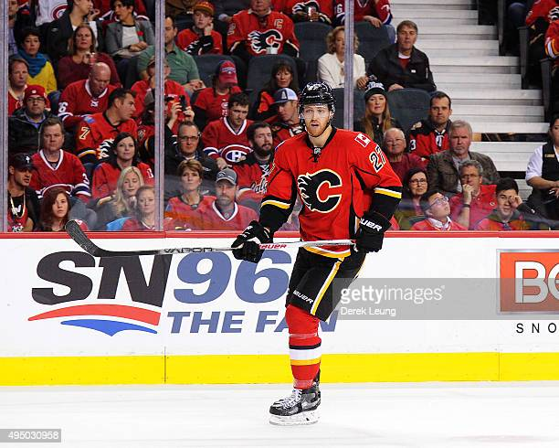 Dougie Hamilton of the Calgary Flames skates against the Montreal Canadiens during an NHL game at Scotiabank Saddledome on October 30 2015 in Calgary...