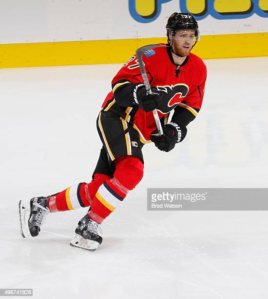 Dougie Hamilton of the Calgary Flames skates against the Philadelphia Flyers at Scotiabank Saddledome on November 5 2015 in Calgary Alberta Canada