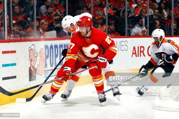 Dougie Hamilton of the Calgary Flames skates against the Philadelphia Flyers during an NHL game on February 15 2017 at the Scotiabank Saddledome in...
