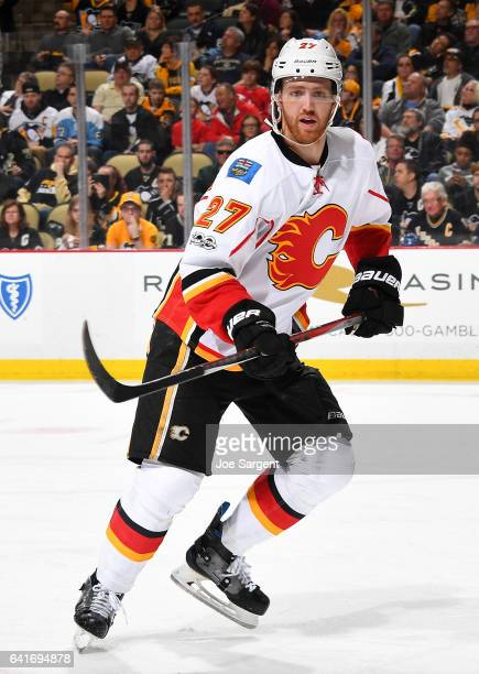 Dougie Hamilton of the Calgary Flames skates against the Pittsburgh Penguins at PPG Paints Arena on February 7 2017 in Pittsburgh Pennsylvania