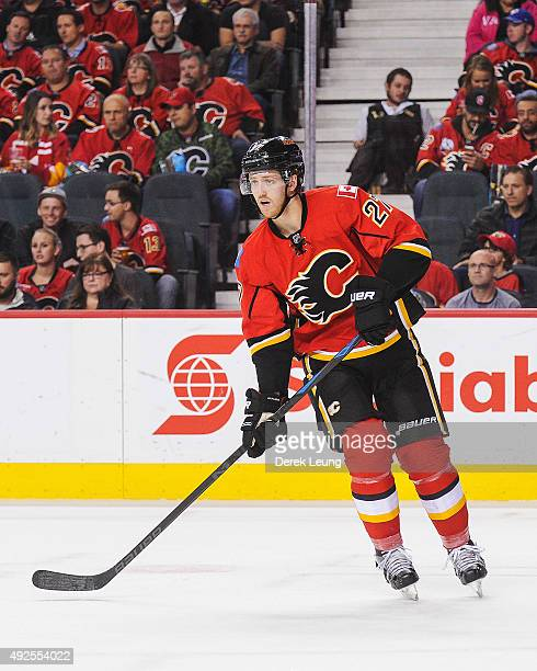Dougie Hamilton of the Calgary Flames skates against the St Louis Blues at Scotiabank Saddledome on October 13 2015 in Calgary Alberta Canada