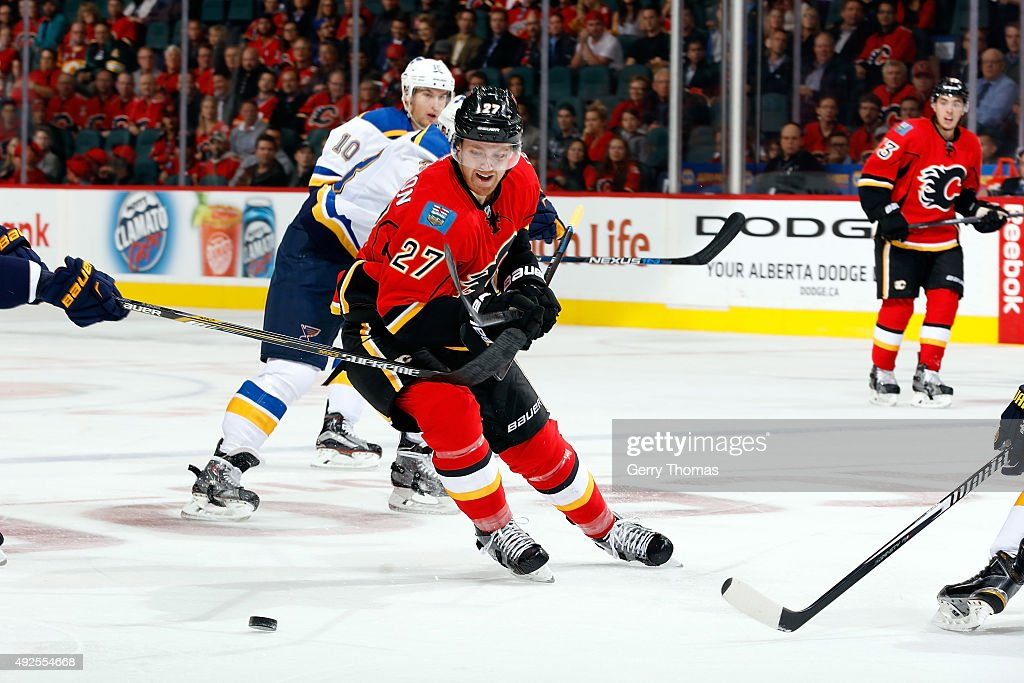 Dougie Hamilton #27 of the Calgary Flames skates against the St. Louis Blues during an NHL game at Scotiabank Saddledome on October 13, 2015 in Calgary, Alberta, Canada.