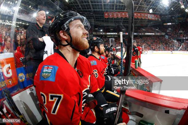 Dougie Hamilton of the Calgary Flames skates against the Tampa Bay Lightning during an NHL game on December 14 2016 at the Scotiabank Saddledome in...
