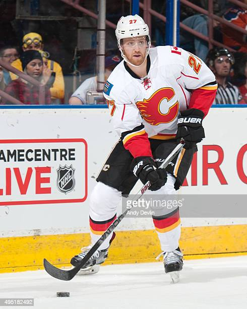 Dougie Hamilton of the Calgary Flames skates during a game against the Edmonton Oilers on October 31 2015 at Rexall Place in Edmonton Alberta Canada