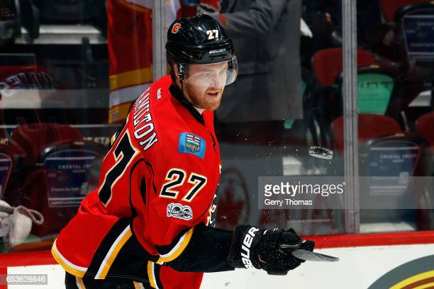 Dougie Hamilton of the Calgary Flames skates in the warmup before an NHL game against the Boston Bruins on March 15 2017 at the Scotiabank Saddledome...