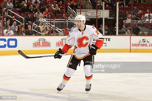 Dougie Hamilton of the Calgary Flames skates up ice against the Arizona Coyotes at Gila River Arena on November 27 2015 in Glendale Arizona