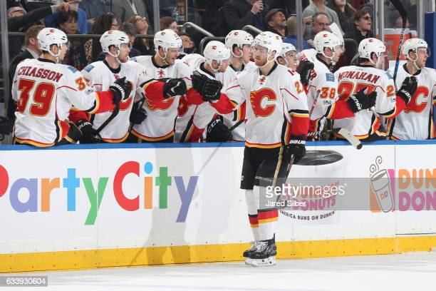 Dougie Hamilton the Calgary Flames celebrates after scoring a goal in the first period against the New York Rangers at Madison Square Garden on...