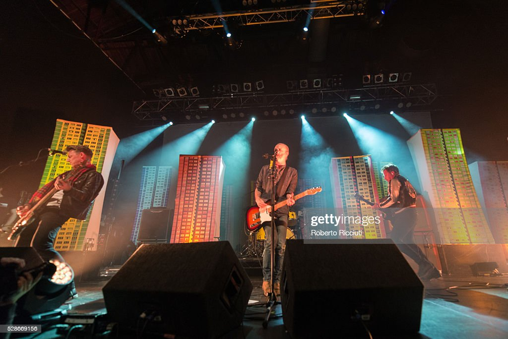 Dougie Payne, Fran Healy and Andy Dunlop of Scottish rock band Travis perform live on stage at O2 ABC Glasgow on May 6, 2016 in Glasgow, Scotland.