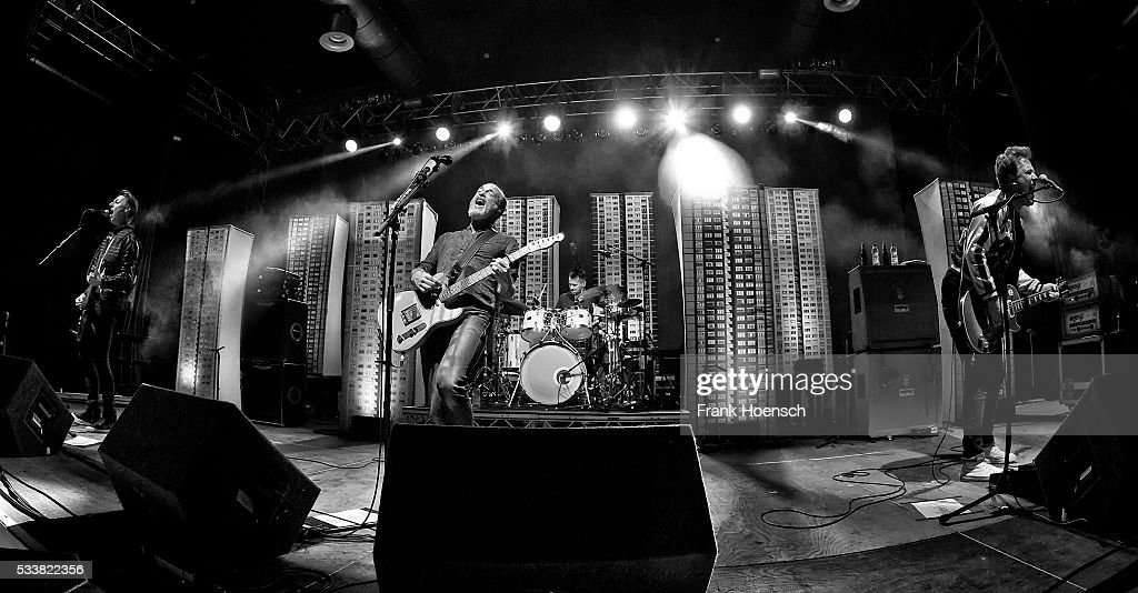 Dougie Payne Fran Healy Neil Primrose and Andy Dunlop of the British band Travis perform live during a concert at the Huxleys on May 23 2016 in...