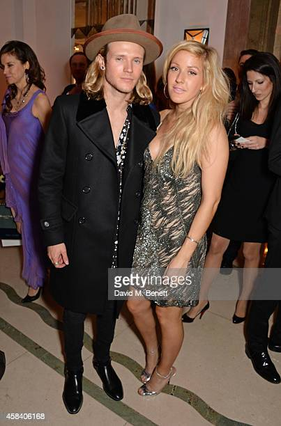Dougie Poynter and Ellie Goulding pose at the Harper's Bazaar Women Of The Year awards 2014 at Claridge's Hotel on November 4 2014 in London England