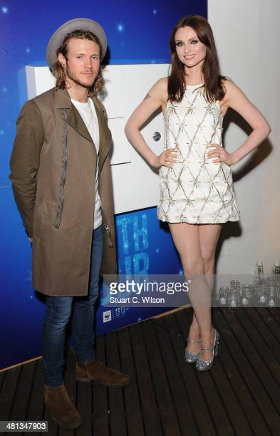 Dougie Poynter and Sophie Ellis Bextor pose at the WWF Earth Hour at Southbank Centre on March 29 2014 in London England