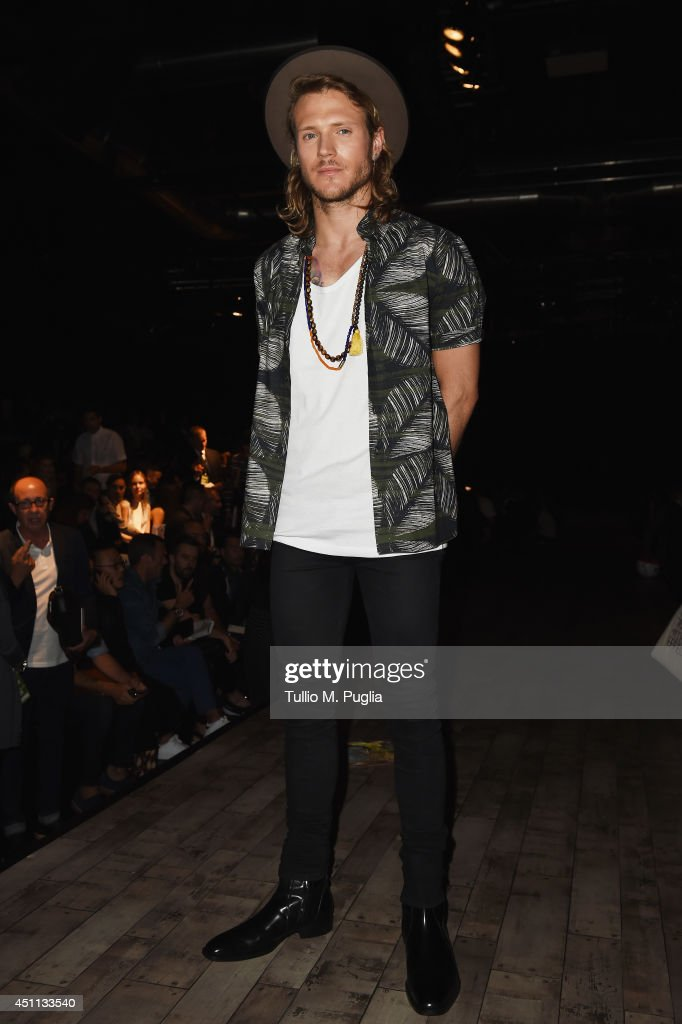 Dougie Poynter attends DSquared2 show during Milan Menswear Fashion Week Spring Summer 2015 on June 24, 2014 in Milan, Italy.