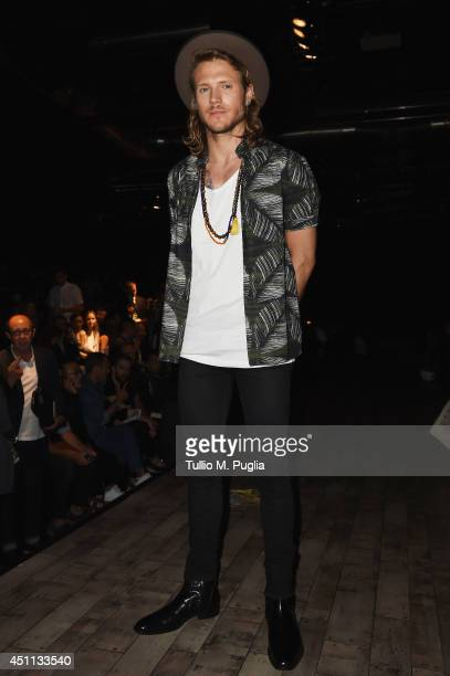 Dougie Poynter attends DSquared2 show during Milan Menswear Fashion Week Spring Summer 2015 on June 24 2014 in Milan Italy